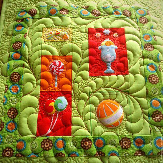 Детская ручной работы. Ярмарка Мастеров - ручная работа. Купить Лоскутная стеганая наволочка в подарок Яркий цирк. Handmade. Одеяло