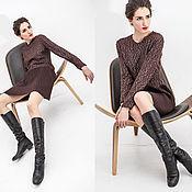 Одежда ручной работы. Ярмарка Мастеров - ручная работа Платье коктельное коричневое, из трикотажа, с юбкой плиссе. Handmade.