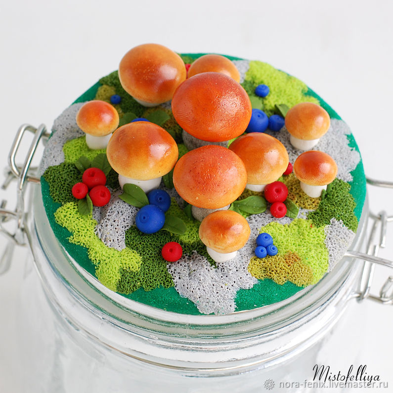 Баночка с грибами из полимерной глины, Банки, Санкт-Петербург,  Фото №1