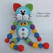 Куклы и игрушки handmade. Livemaster - original item The cat Is blue with a beaded toy, crochet. Handmade.