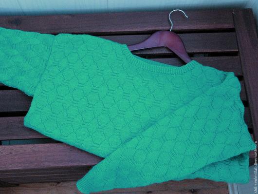 Кофты и свитера ручной работы. Ярмарка Мастеров - ручная работа. Купить Вязаный свитер изумрудного цвета. Handmade. Морская волна