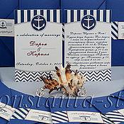 Приглашения ручной работы. Ярмарка Мастеров - ручная работа Морское свадебное приглашение с конвертом. Handmade.