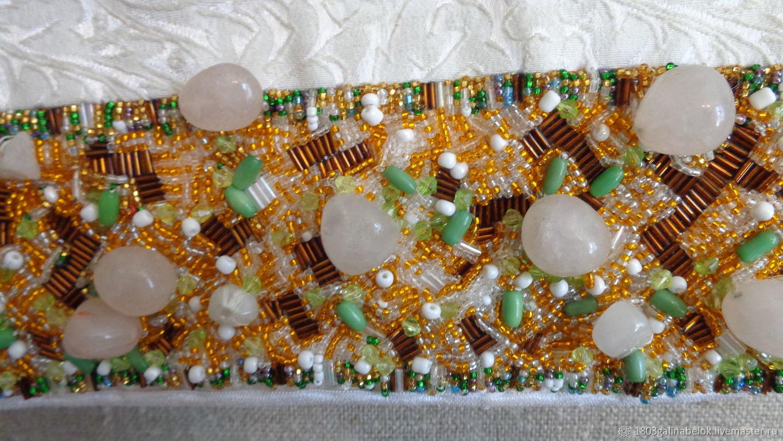 White handbag with beaded decoration, Crossbody bag, St. Petersburg,  Фото №1