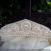 Свадебный салон handmade. Livemaster - original item Wedding tiara crown, embroidered with pearls