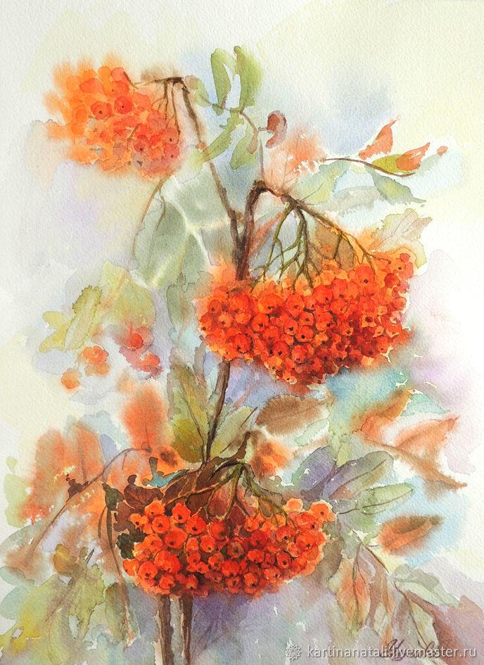 Watercolor 'Rowan' 28H38 cm, Pictures, Kaltan,  Фото №1