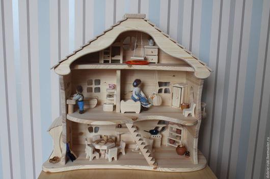 Кукольный дом ручной работы. Ярмарка Мастеров - ручная работа. Купить Домик с мансардой. Handmade. Бежевый, вальдорфские игрушки