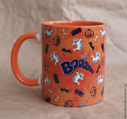 """Подарки на Хэллоуин ручной работы. Ярмарка Мастеров - ручная работа. Купить Чашка """"Бууу!"""". Handmade. Рыжий, Хэллоуин, привидения, подарок"""