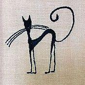 """Картины и панно ручной работы. Ярмарка Мастеров - ручная работа Картинка, панно, картина вышитая """"Черная киса"""". Handmade."""