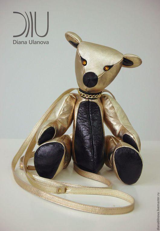 Женские сумки ручной работы. Ярмарка Мастеров - ручная работа. Купить Мишка рюкзачок. Handmade. Кожаная сумка, золотой