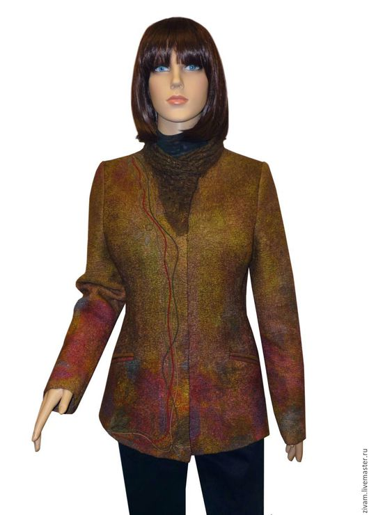 """Верхняя одежда ручной работы. Ярмарка Мастеров - ручная работа. Купить Валяная куртка """"Таинственный лес"""" нуновойлок. Handmade. Оливковый"""