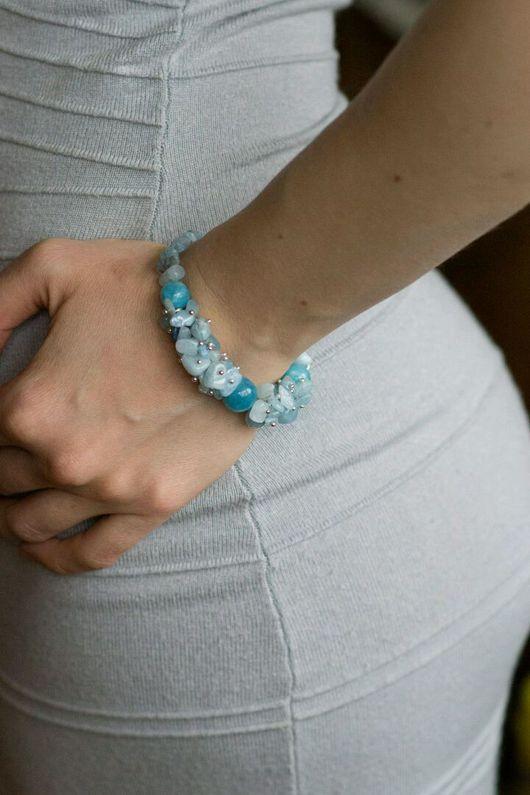 браслет из аквамарина браслет на праздник украшения натуральные камни браслет натуральные сложный браслет синий браслет эксклюзивные украшения браслет аквамарин браслет на заказ