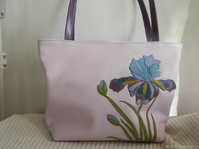 Leather bag. bag with applique of iris lilac shopper u2013 shop online