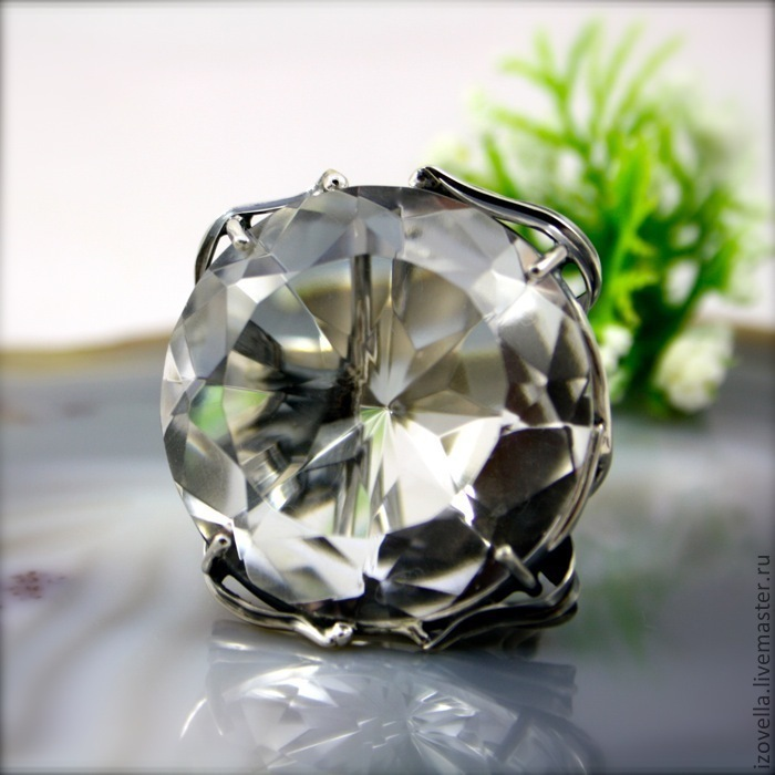 Ring 'crystal Lily' - rhinestone, 925 sterling silver, Rings, Prague,  Фото №1
