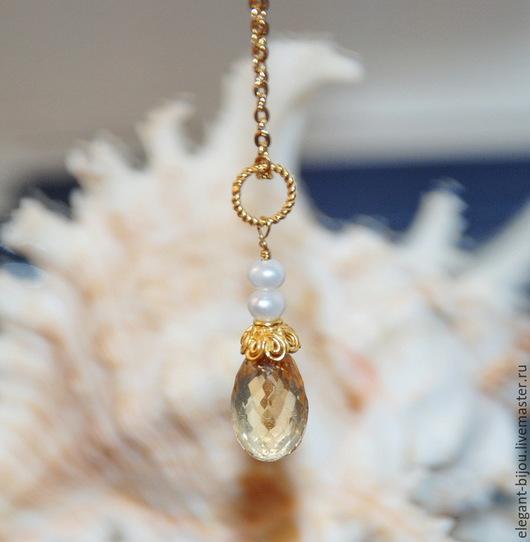 кулон с цитрином; цитрин; украшение с цитрином; авторское украшение; подарок любимой; подарок жене; подарок маме; подарок дочке