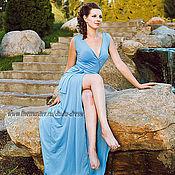 Платья ручной работы. Ярмарка Мастеров - ручная работа Платье-халатик небесно-голубое. Handmade.