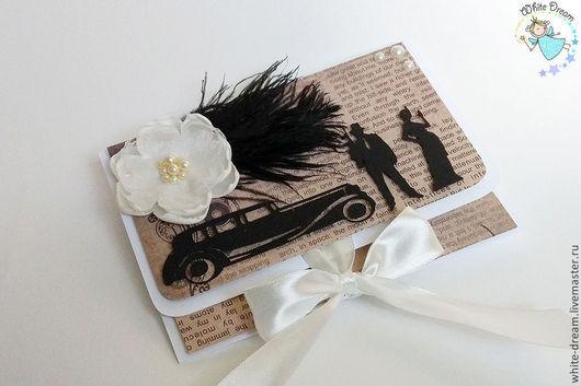"""Свадебные открытки ручной работы. Ярмарка Мастеров - ручная работа. Купить конверт для денег """"В стиле Гэтсби"""". Handmade."""