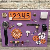 Бизиборды ручной работы. Ярмарка Мастеров - ручная работа Бизиборд 50х40 фиолетовый. Handmade.