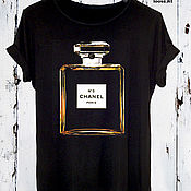 Одежда handmade. Livemaster - original item Black cotton t-shirt with perfume print - TEE10059CT. Handmade.