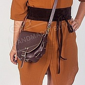 Сумки и аксессуары handmade. Livemaster - original item crossbody bag brown leather geometry semicircle. Handmade.