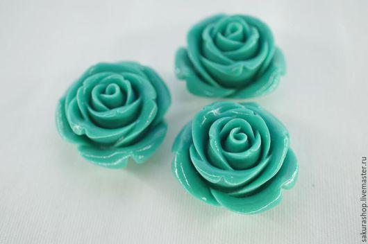 Для украшений ручной работы. Ярмарка Мастеров - ручная работа. Купить Роза голубая из коралла подвеска 36 мм. Handmade.