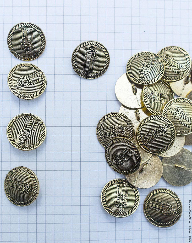 Пуговица металлическая на ножке с рыцарем 22мм металл, Пуговицы, Железнодорожный,  Фото №1