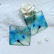 Украшения handmade. Livemaster - original item Transparent Earrings Resin Earrings Blue Cornflowers Eponina Resin. Handmade.