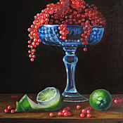 Pictures handmade. Livemaster - original item Oil painting still Life with red Currant. Handmade.