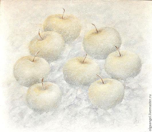 """Натюрморт ручной работы. Ярмарка Мастеров - ручная работа. Купить """"Яблоки на снегу"""". Handmade. Белый, светлые, этюд, в детскую комнату"""