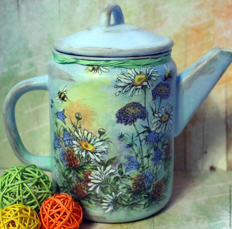 Vintage tea-coffee maker Camomile summer decoupage – shop online on ...