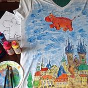 Одежда ручной работы. Ярмарка Мастеров - ручная работа Футболка Бегемот в Праге. Handmade.