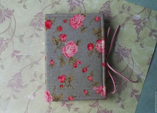 Блокноты ручной работы. Ярмарка Мастеров - ручная работа. Купить Розовые цветы. Handmade. Розовый, подарок, лён