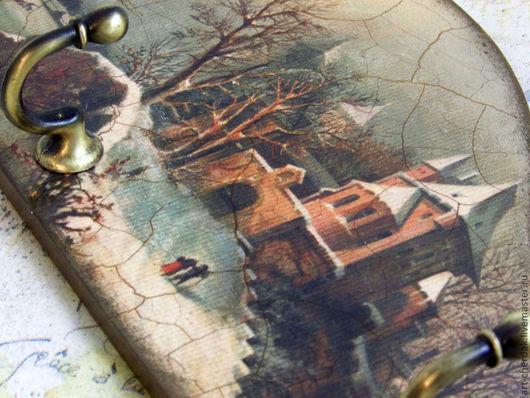 """Прихожая ручной работы. Ярмарка Мастеров - ручная работа. Купить Ключница """"Старый замок"""". Handmade. Хаки, крючки, панно, дерево"""