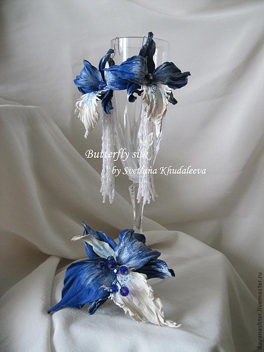 """Серьги ручной работы. Ярмарка Мастеров - ручная работа. Купить Серьги орхидеи """"Синее море"""" Кожа. Handmade. Синий"""