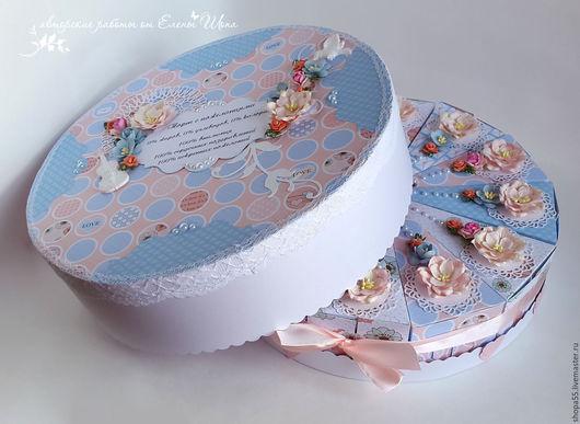 """Персональные подарки ручной работы. Ярмарка Мастеров - ручная работа. Купить Торт бумажный """"Нежность"""" бумажный торт с пожеланиями. Handmade."""