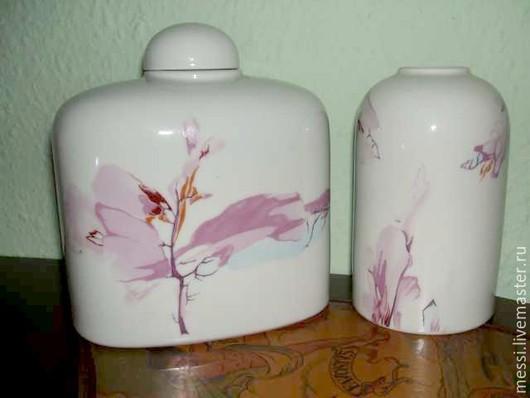 Винтажная посуда. Ярмарка Мастеров - ручная работа. Купить Две фарфоровые чайницы, японский рисунок, ГДР. Handmade. Розовый, гдр