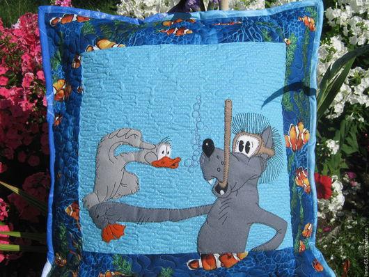 Текстиль, ковры ручной работы. Ярмарка Мастеров - ручная работа. Купить Подушка лоскутная декоративная с аппликацией. Handmade. Комбинированный, бязь