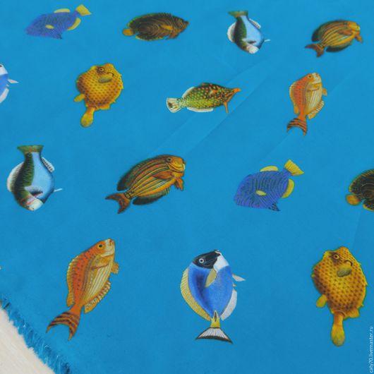 """Шитье ручной работы. Ярмарка Мастеров - ручная работа. Купить Ситец """"Рыбки"""", арт. 53735, хлопок100%. Handmade. Ткани Италии"""