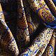 Шали, палантины ручной работы. Палантин с вышивкой. Радха-Мадхава. Ярмарка Мастеров. Синий с золотом, кашемировый палантин, роскошный