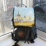 handmade. Livemaster - original item Backpack leather women with painted to order for Mira.Salvador Dali.Slo. Handmade.