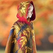 Одежда ручной работы. Ярмарка Мастеров - ручная работа Пальто-пончо Леди Осень с рисунком из шерсти размер 50-52. Handmade.