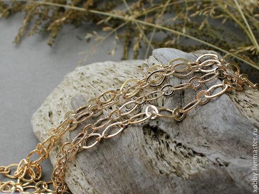 Цепочка для украшений латунь,50 см, Золото Цепочка из латуни, ручной работы.  Покрытие цепочки не содержит свинца и кадмия. Цепочка имеет запаянные все звенья.