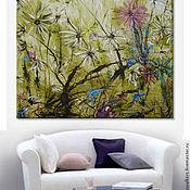 """Картины и панно ручной работы. Ярмарка Мастеров - ручная работа """"Дикий сад"""" 140х140 см очень большая картина маслом мастихином цветы. Handmade."""
