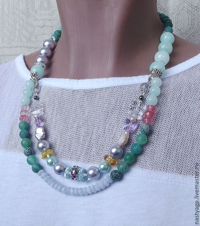 Necklaces & Beads handmade. Livemaster - handmade. Buy necklace 'watercolor'.Mint, agate, citrine, watermelon quartz