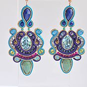 Украшения handmade. Livemaster - original item Soutache earrings with Swarovski crystals Yuzhanka. Handmade.
