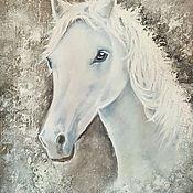 Картины и панно ручной работы. Ярмарка Мастеров - ручная работа Белая лошадь. Картина маслом.. Handmade.