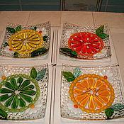 """Посуда ручной работы. Ярмарка Мастеров - ручная работа Тарелочки """"Цитрусовый фрэш""""(фьюзинг). Handmade."""
