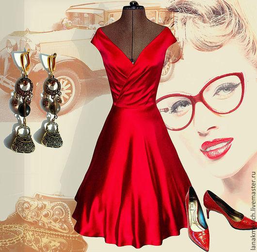 """Платья ручной работы. Ярмарка Мастеров - ручная работа. Купить Платье шелковое красное с пышной юбкой """"Валентино"""". Handmade."""