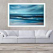 Картины и панно handmade. Livemaster - original item Large oil painting abstract seascape blue blue color. Handmade.