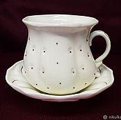 """Посуда ручной работы. Ярмарка Мастеров - ручная работа Чайная пара """"Клубничка"""" белая. Handmade."""