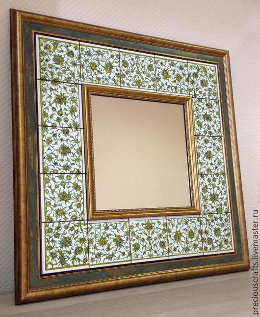Зеркала ручной работы. Ярмарка Мастеров - ручная работа. Купить Зеркало настенное в раме из керамической плитки. Handmade. Зеркало
